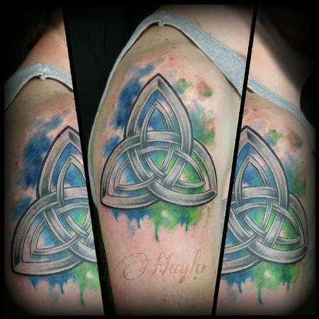 Tattoos - Celtic design with custom watercolor style accents - 104398