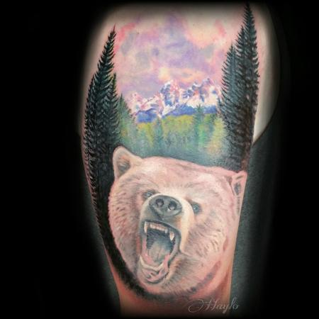 Progression of a Grizzly Bear with the Tetons Mountain range in the background Design Thumbnail