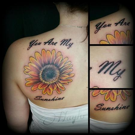 Tattoos - Realistic style sunflower with script - 104406