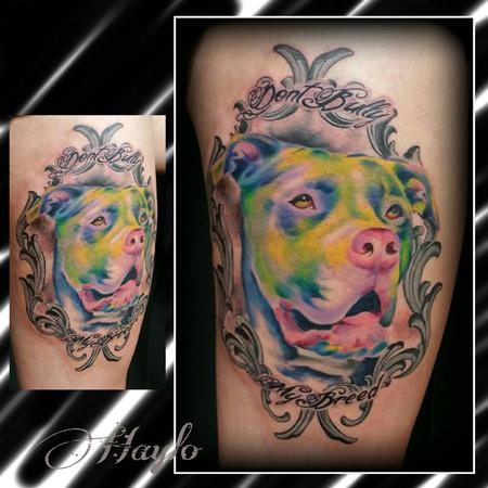 Tattoos - Custom Watercolor style Pitbull Bully Breed with Frame - 104404