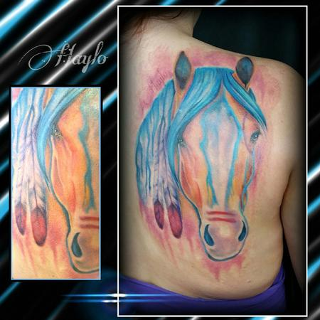 Tattoos - watercolor style custom native american war horse - 104410