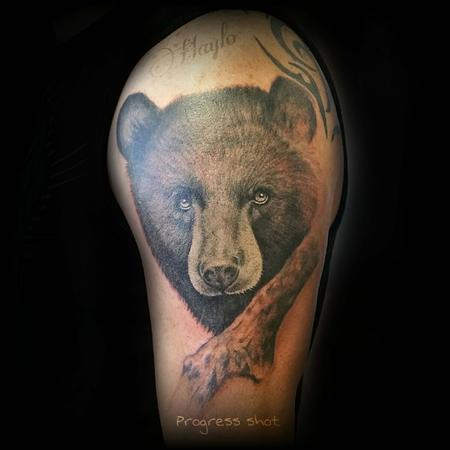 Progression of Black bear with branch piece. Session one. Design Thumbnail