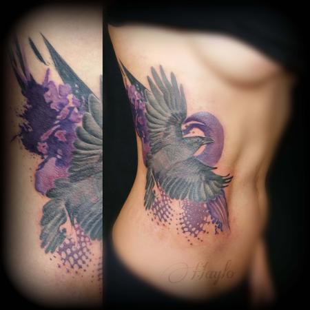 Tattoos - Trash Polka Style Raven - 109223