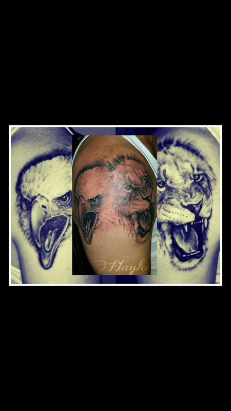 Tattoos - Custom Eagle and Lion Realism Piece  - 99415