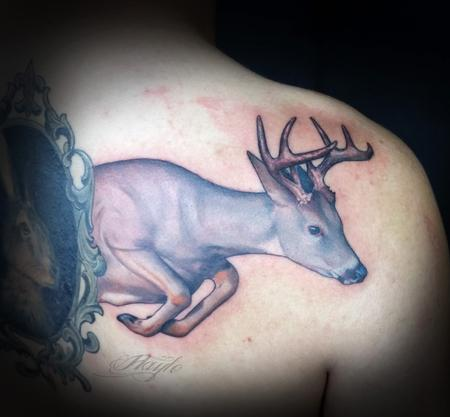 Tattoos - Custom Leaping White Tail Deer - 109902