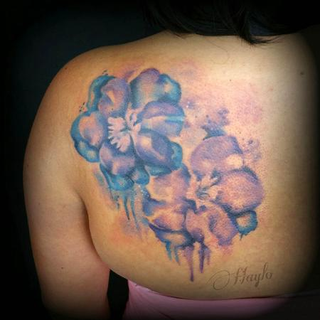Tattoos - Watercolor style larkspur floral tattoo  - 109723