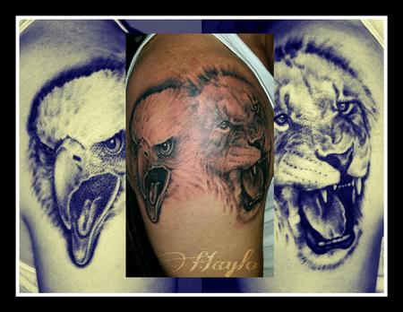 Tattoos - Realistic Eagle and Lion faces - 110012