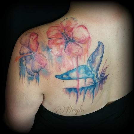 Tattoos - Watercolor style whale fluke with Hibiscus flowers - 109933