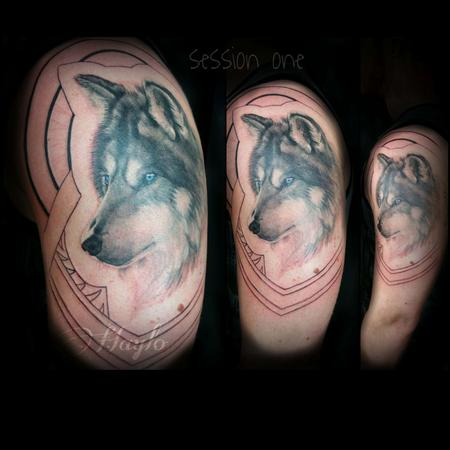 Tattoos - Progression of Wolf and Native american/Islander style tribal sleeve - 103838