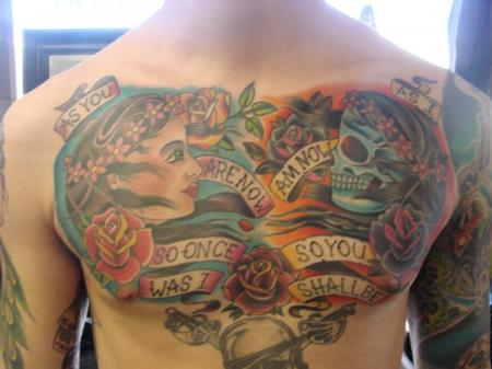 Brandon Lewis - Girl and Skull Chest Tattoo