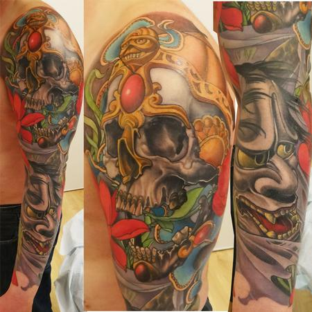 full color japanese sleeve Tattoo Design Thumbnail