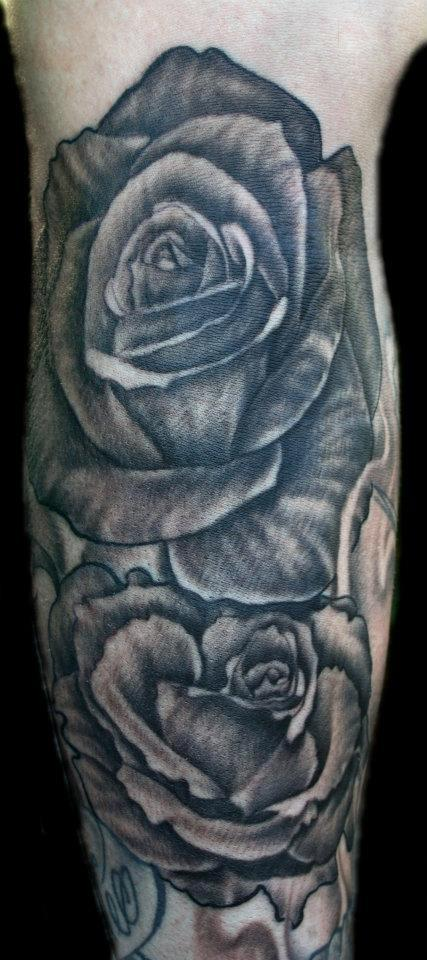 Tattoos - Black and Grey Roses - 69521