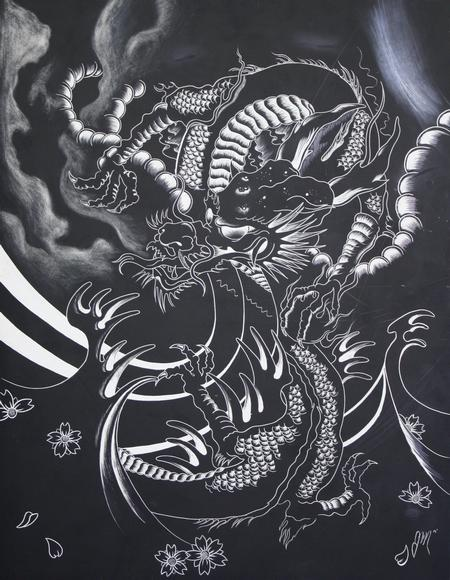 Tattoos - Dragon on Scratch board - 69593