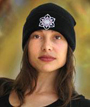 C115 Black Crystal Knit Cap Michele Wortman