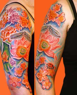 Tattoos - Dragonfly over Flowers - 28506
