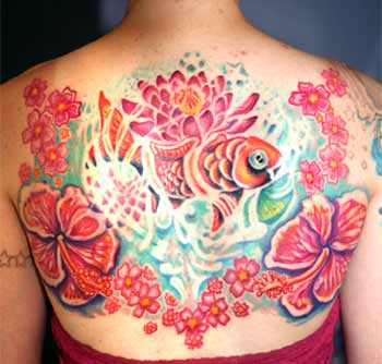 Tattoos - Fish in Flower Collection - 29076