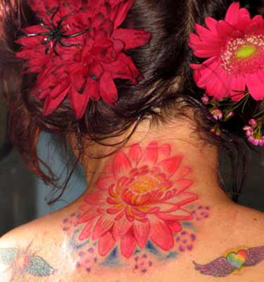 Tattoos - Lotus FLower on back of Neck - 28425