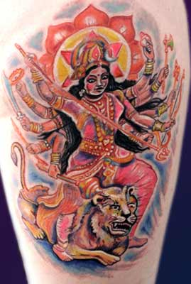 Tattoos - Hindu 10 arms over Lion - 28510
