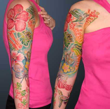 Tattoos - Humming Birds in Flowers - 28513