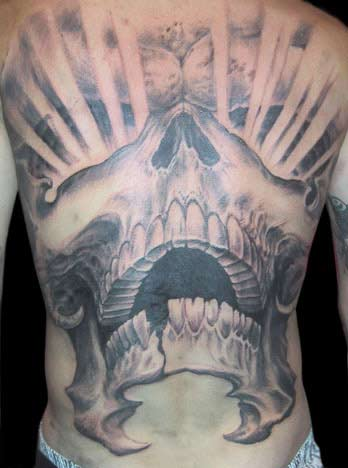 Tattoos - Skull Rays Back Piece - 13886
