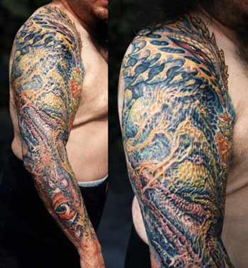 Tattoos - Bio Mech Scar Coverup - 13891