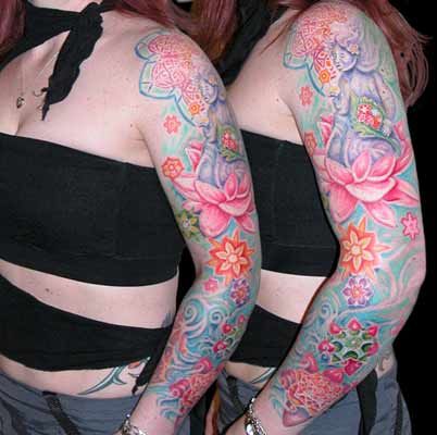 Tattoos - Color Sleeve with Lotus - 29086