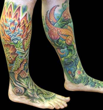 Tattoos - Flower Leg to Foot Sleeves - 13909