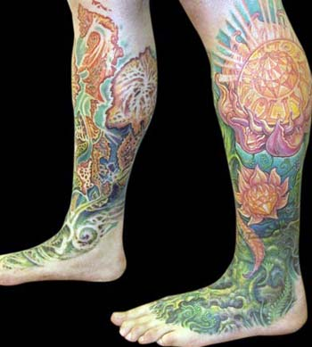 Tattoos - Flower Leg to Foot Sleeve, Another Angle - 13910