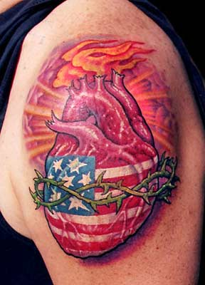 Tattoos - Patriotic Heart - 29478