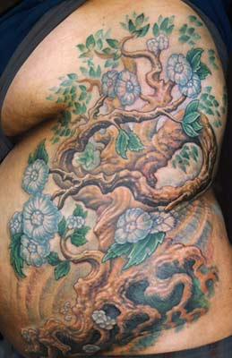 Tattoos - Tree with Blossoms on ribs - 28315