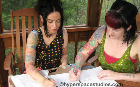 Michele Wortman - Drawing with my flower sister Lizi Sage