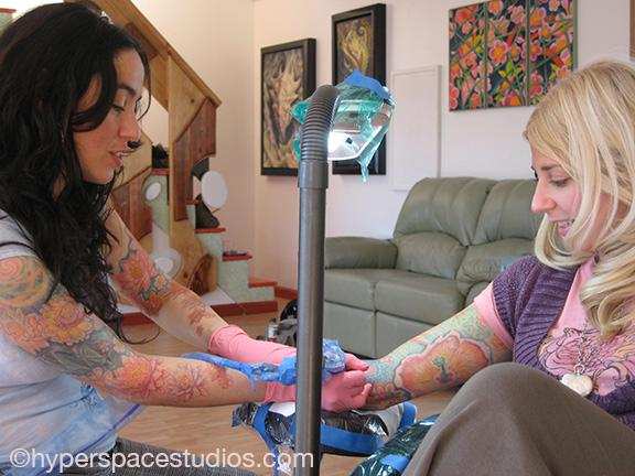Michele Wortman - Tattooing Mindys arm