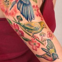 Tattoos - Lily bird halfsleeve - 71339