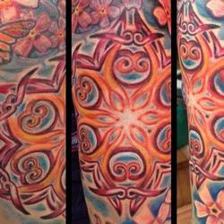Tattoos - Mandala and cherry blossom half sleeve - 79194