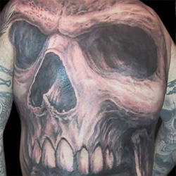 Tattoos - Full Back Skull - 13890
