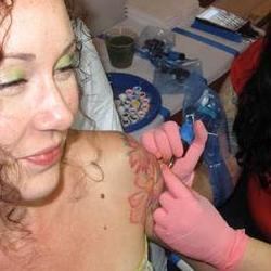 Tattoos - Working on Melissa - 79163