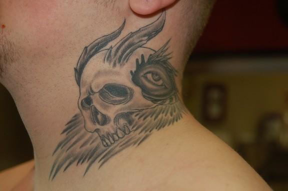 Skull on neck tattoo by todd lambright tattoonow for Skull neck tattoos