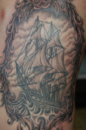 Tattoos - Old ship and filigree  - 41909