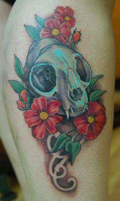 Shawn Hebrank - Cat Skull with Flowers