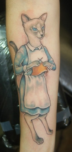Shawn Hebrank - Knitting Cat Tattoo