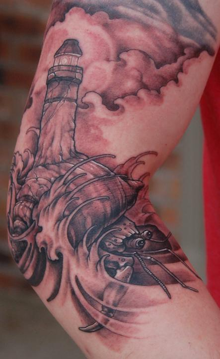 Lighthouse Crab Morph Tattoo Design Thumbnail