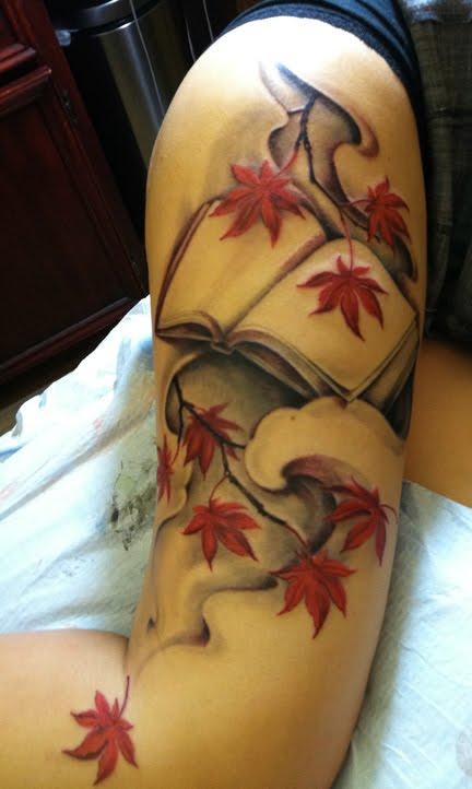 Book and Maple Leaves : Tattoos :