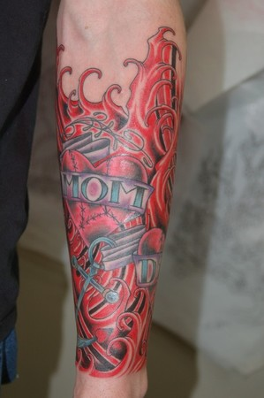 Tattoos - Mom heart in blood water - 41917