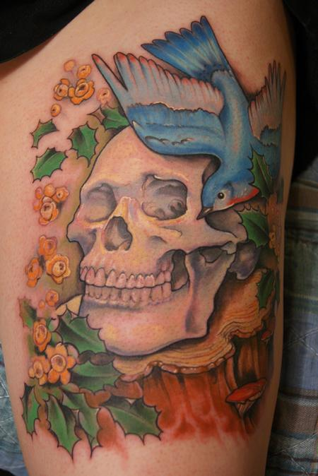 Shawn Hebrank - Skull on a tree stump