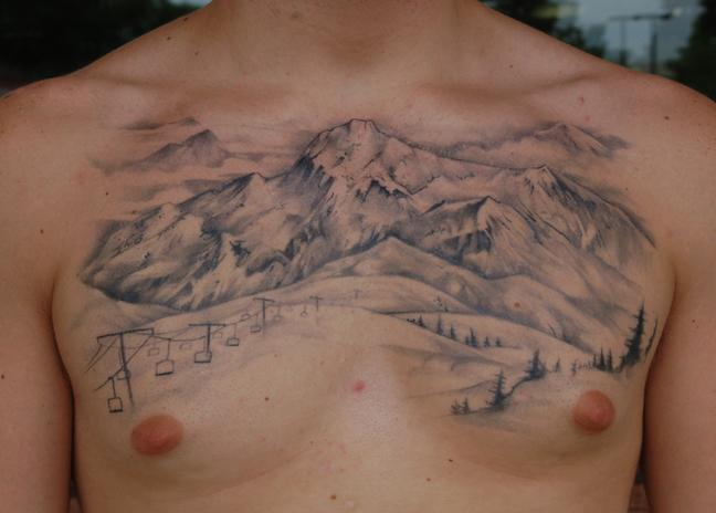 Mountain chest by shawn hebrank tattoonow for Mountain man tattoo