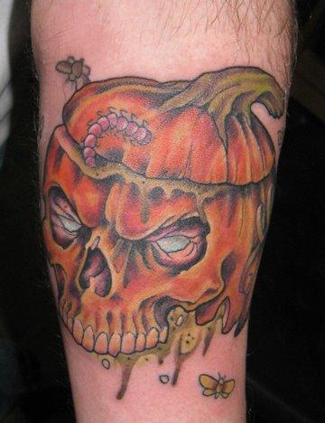 Rotting pumpkin by shawn hebrank tattoonow for Tattoos of pumpkins
