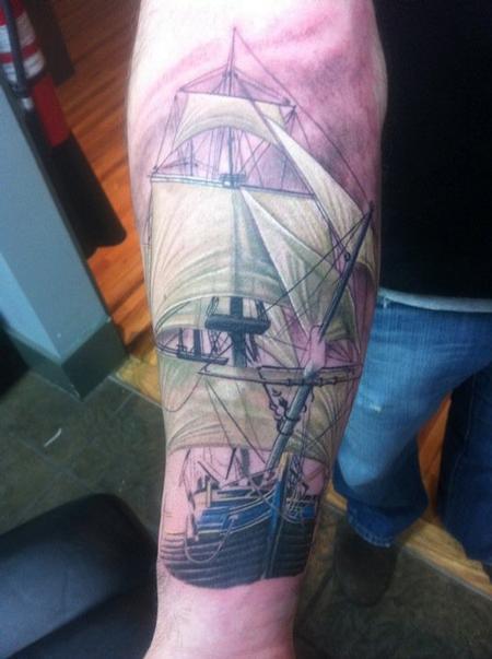 Tattoos - Realistic Ship Tattoo - 63446