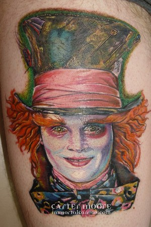 Johnny Depp as the Mad Hatter Tattoo Design Thumbnail