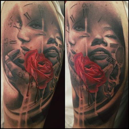 Tattoos - Rose, clock, and faces - 89510