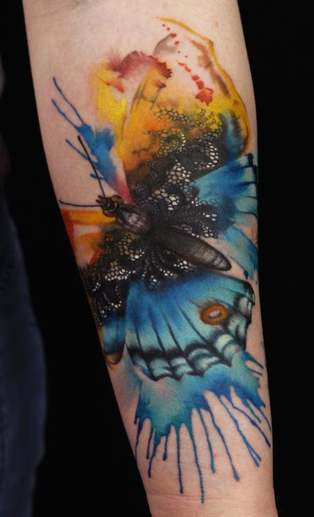 Tattoos - watercolor butterfly tattoo - 89515